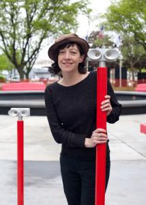 """Artist Colleen Woolpert installs her piece """"SyraViews"""""""