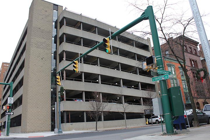 Parking garage at Montgomery St. and W. Fayette St.